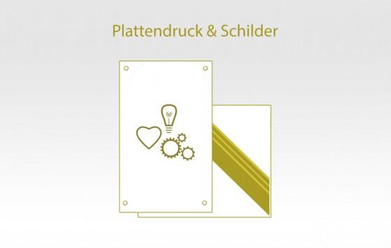 Plattendruck und Schilder